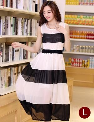 ชุดเดรสยาวแฟชั่นเกาหลี สีขาว-ดำ ผ้าชีฟอง คอกลม แขนกุด เอวยืด ซับใน ขนาดไซส์ L