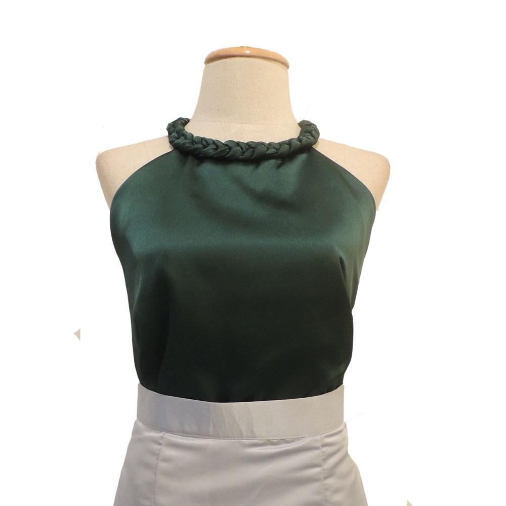 เสื้อออกงานสีเขียว คอเปียใหญ่ แขนกุด ผ้า ผ้าซิลค์ซาติน