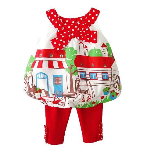 เสื้อผ้าเด็กขายส่งยกแพค 6 ชุด ชุดเสื้อเลกกิ้งเด็ก เสื้อทรงบอลลูนพิมพ์ลายบ้านเก๋ไก๋น่ารัก