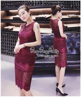 Lady Ribbon Online เสื้อผ้าออนไลน์ขายส่ง very very pretty เสื้อผ้า VP02140816 Luxury Sleeveless Lace Slim Dress By vvp เดรสแขนกุด เนื้อผ้าลูกไม้เกาหลี ลายลูกไม้ซีทรูเนื้อนิ่ม