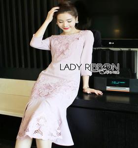 Lady Ribbon Baby Pink Crepe Dress