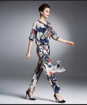 ซตเสื้อ+กางเกง ดีไซน์ผ้าพิมพ์ลายดอกไม้ใบ