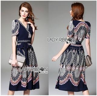 LR11290816 &#x1F380 Lady Ribbon's Made &#x1F380 Lady Sasha Classy Smart Printed Midi Dress with Ribbon Belt