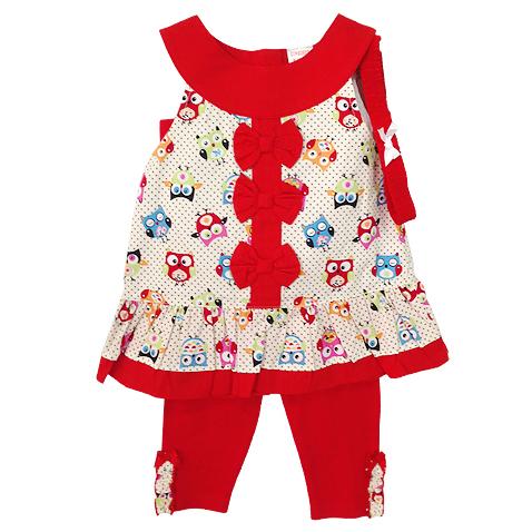 เสื้อผ้าเด็ก ชุดเสื้อเลกกิ้งผ้าไม่ยืด มีที่คาดผมเข้าชุดกันด้วยค่ะ Size 9/12, 12/18, 18/24 เดือน