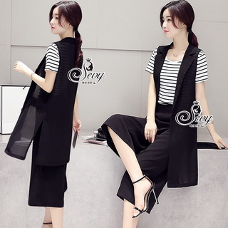 Sevy Three Pieces Of Strips T-Shirt Cover By Chiffon Blazer With Pants Sets