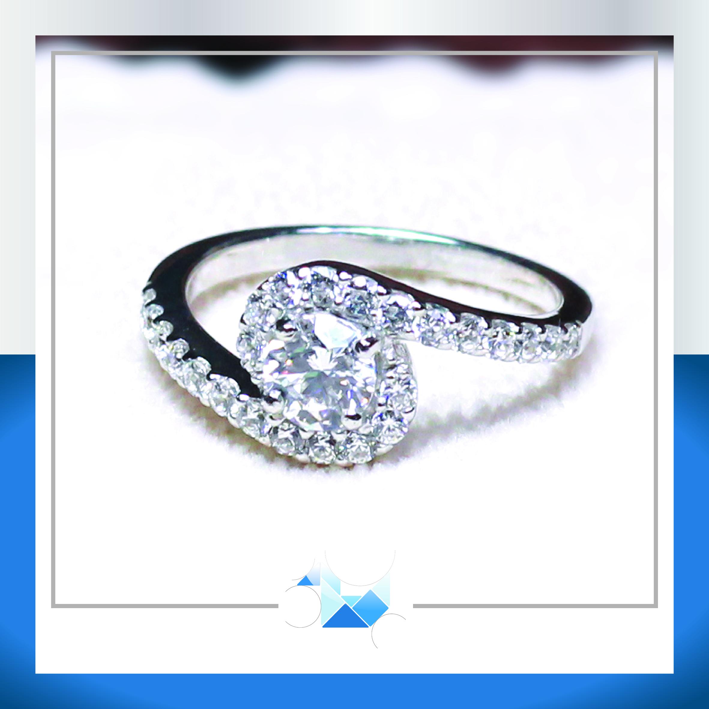 แหวนเงินแท้ เพชรสังเคราะห์ ชุบทองคำขาว รุ่น RG1481