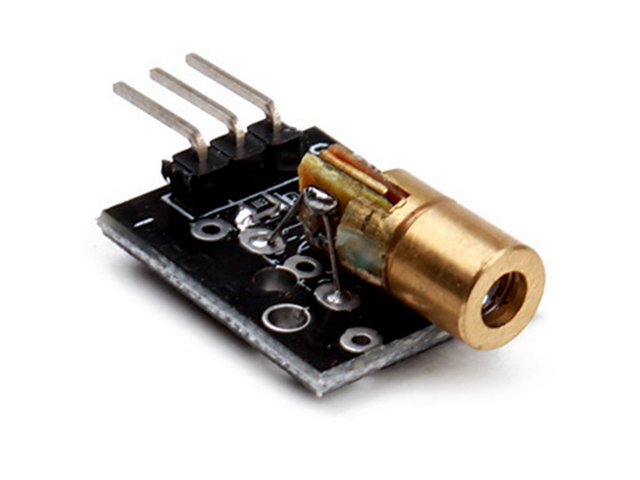 โมดูลเลเซอร์เซนเซอร์ KY-008 650nm Laser sensor Module 6mm 5V 5mW Red Laser Dot Diode Copper Head for Arduino