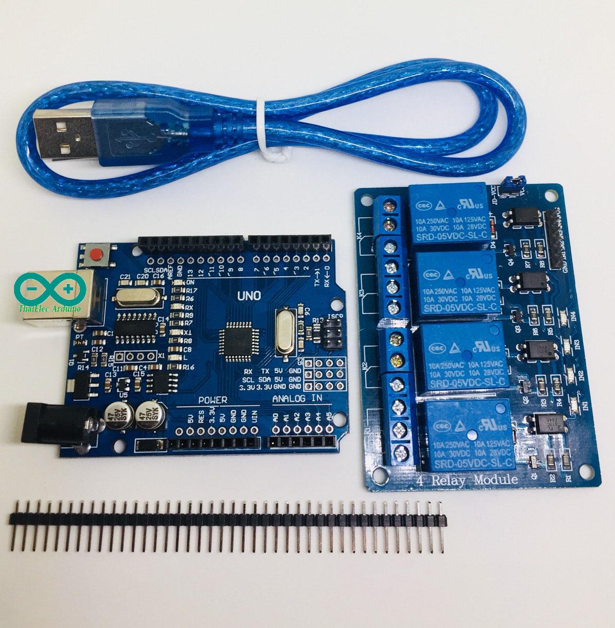 โปร Arduino UNO R3 (CH340G) แถมสาย USB คุ่กับ RELAY 4 OUT