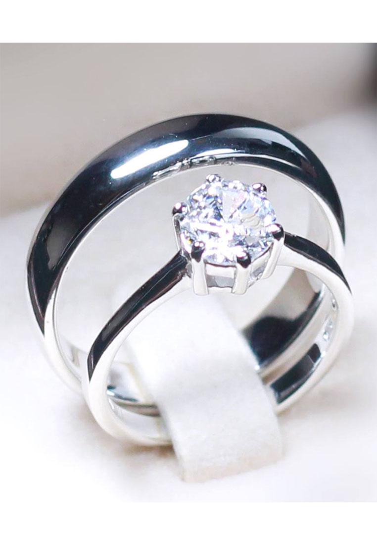 แหวนคู่รักเงินแท้ เพชรสังเคราะห์ ชุบทองคำขาว รุ่น LV14051416 Plain B & One Carat