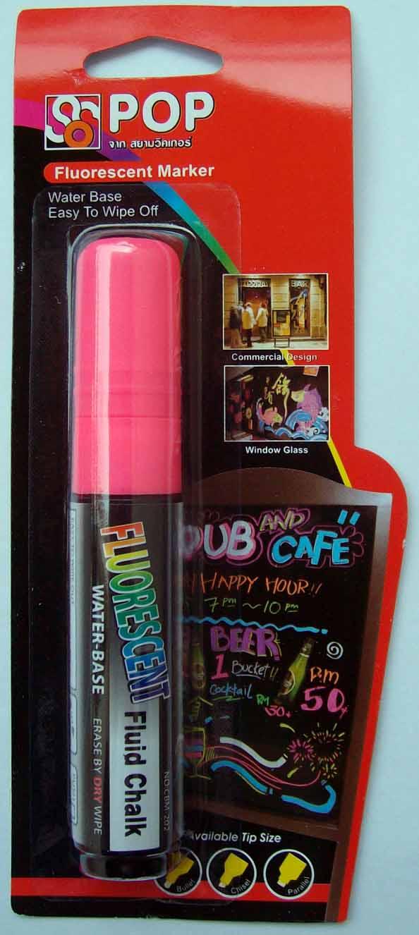ปากกาชอล์ค เรืองแสง ขนาด 10 มม. สีชมพู