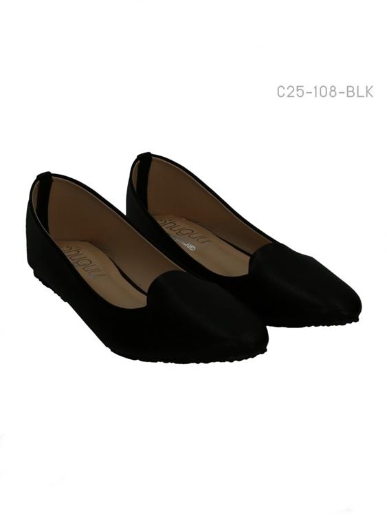 รองเท้าคัทชูส้นเตี้ย หัวแหลม หนังเรียบ (สีดำ )