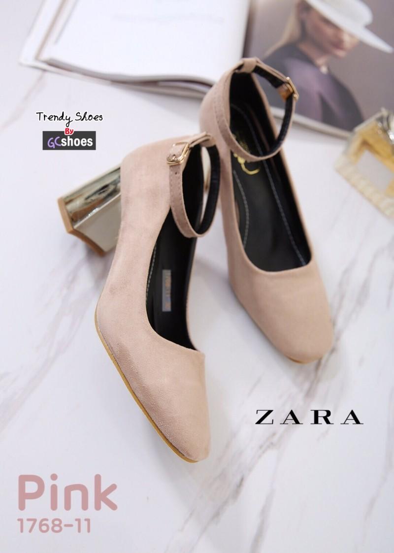 รองเท้าคัทชูส้นตันสีชมพู หัวมน สไตล์ Zara (สีชมพู )