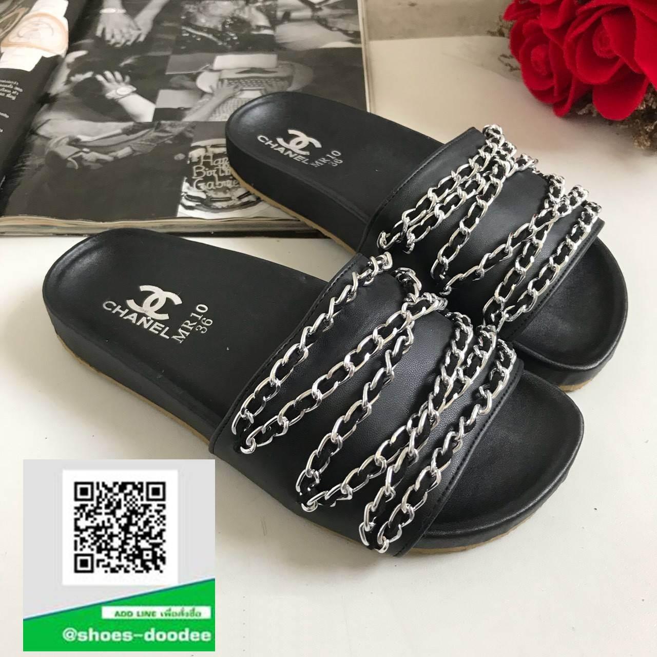 รองเท้าแตะผู้หญิงสีดำ chanel tropiconic slide (สีดำ )