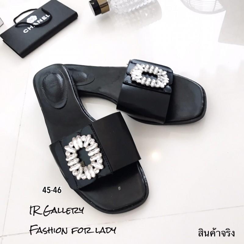 รองเท้าแตะผู้หญิงสีดำ เปิดส้น Style Roger Vivier (สีดำ )
