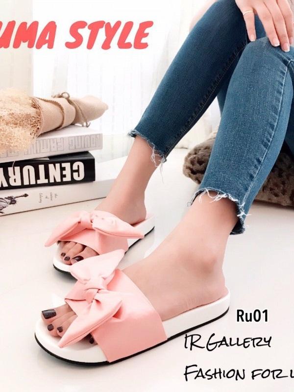 รองเท้าแตะผู้หญิง แบบสวม ผ้าซาติน แต่งโบว์ (สีชมพู )