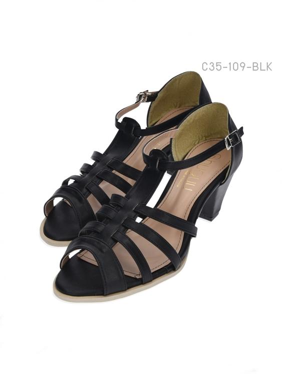 รองเท้าส้นสูงรัดส้น เปิดด้านหน้า (สีดำ )