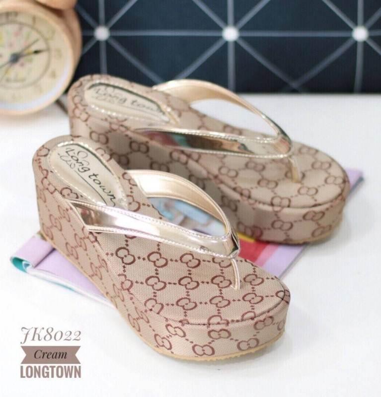 รองเท้าส้นเตารีดสีครีม แบบคีบ พื้นิ่ม (สีครีม )