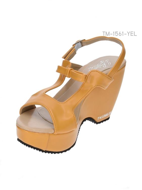 รองเท้าส้นเตารีดรัดส้น แต่งโบว์ (สีน้ำตาล )
