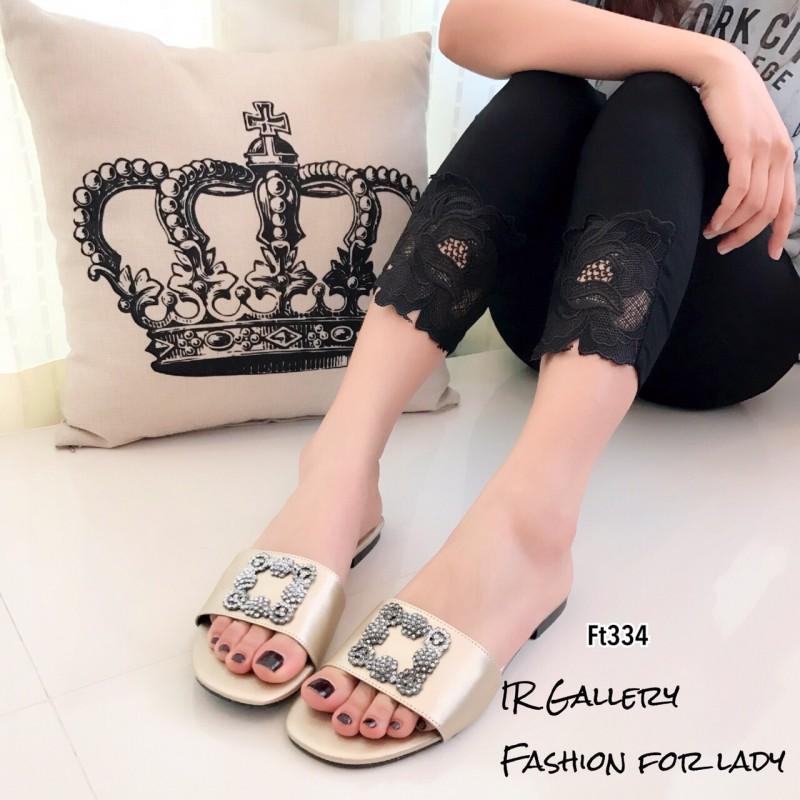 รองเท้าแตะเปิดส้นสีทอง วัสดุหนังพียูผสมไหมเทียม Style Manolo Blahnik (สีทอง )