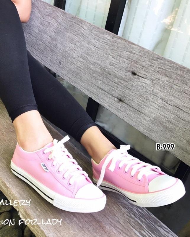 รองเท้าผ้าใบแฟชั่นสีชมพู ผ้าแคนวาส รุ่นคลาสสิค (สีชมพู )
