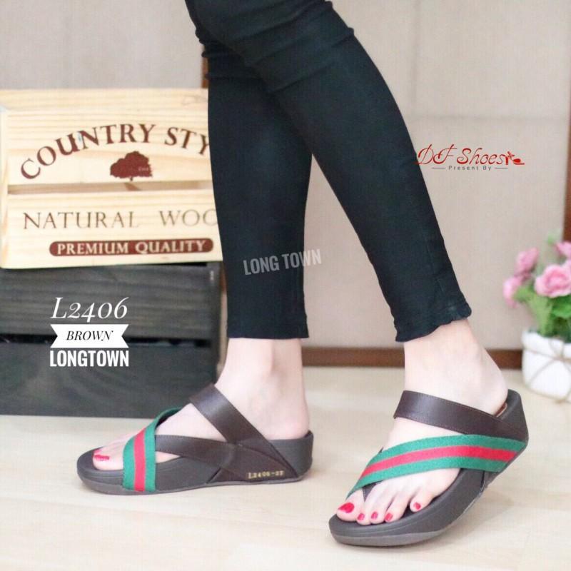 รองเท้าแตะเพื่อสุขภาพสีน้ำตาล แบบคีบนิ้วโป้ง สไตล์ FITFLOP (สีน้ำตาล )
