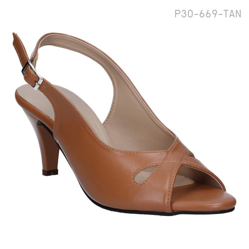 ลดล้างสต๊อก รองเท้าส้นเตี้ย P30-669-TAN [สีแทน]