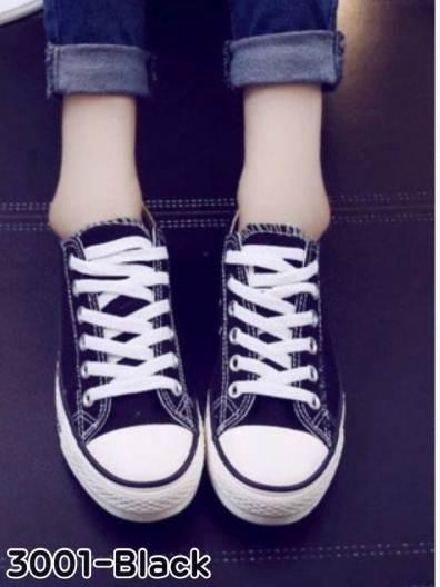 รองเท้าผ้าใบแฟชั่นสีดำ สไตล์คอนเวิร์ส (สีดำ )
