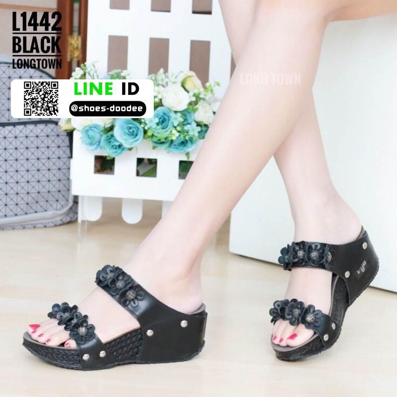 รองเท้าเพื่อสุขภาพ สายคาดมีดอกไม้ L1442-BLK [สีดำ]