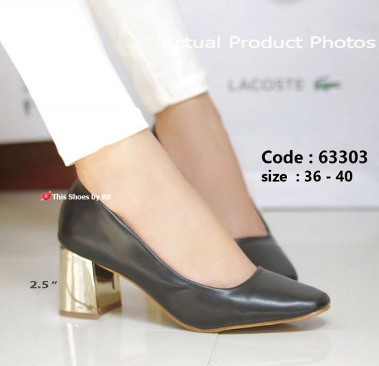 รองเท้าคัทชูส้นตันสีดำ แต่งเมทาลิกสีทอง Chunky Shoes (สีดำ )