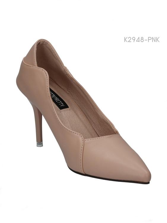 รองเท้าคัทชูส้นสูง แต่งขอบโค้ง (สีชมพู )