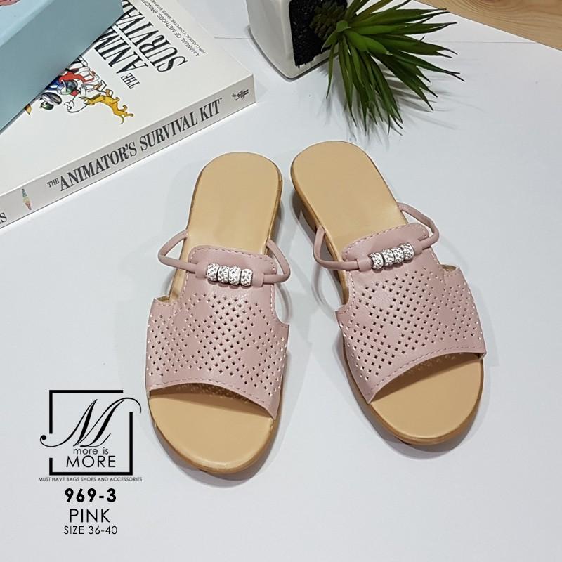 รองเท้าแตะแฟชั่นสีชมพู แบบสวม ฉลุลาย (สีชมพู )