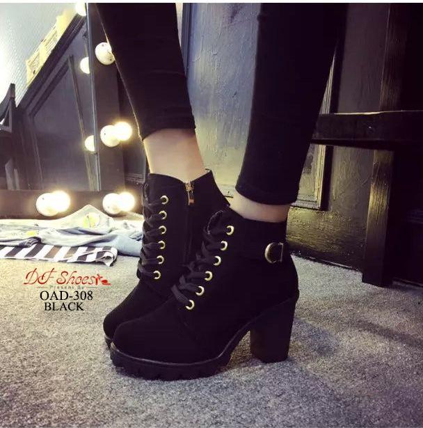 รองเท้าบูทเกาหลีสีดำ หนังพียู ส้นตัน (สีดำ )