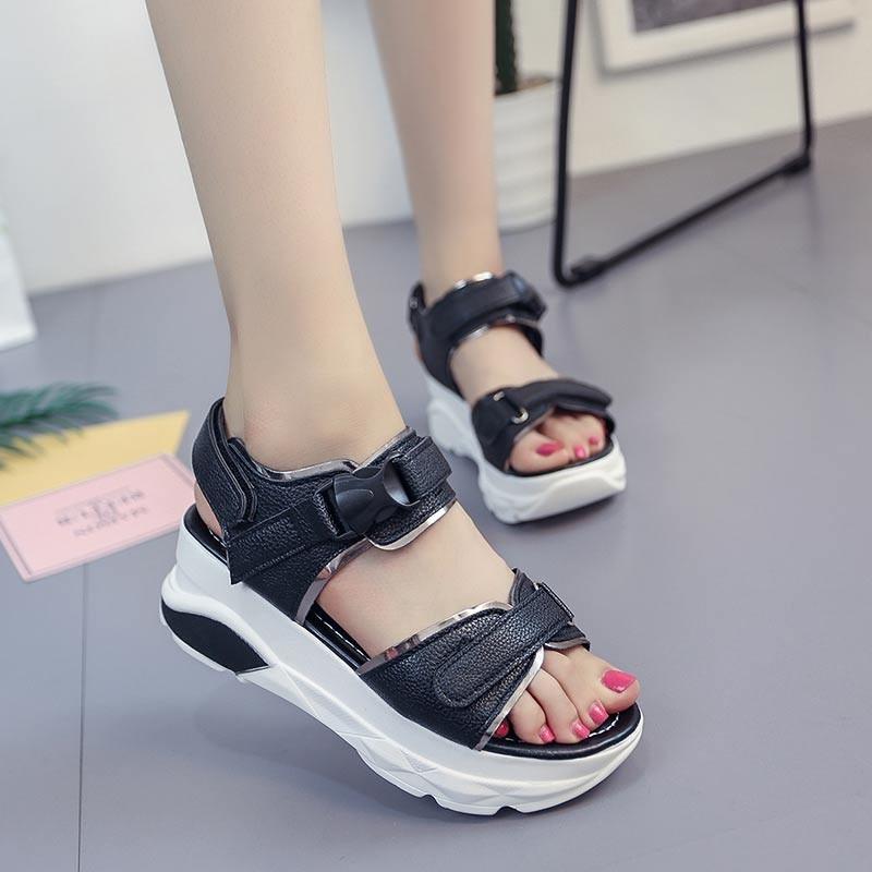รองเท้าแตะรัดส้นสีดำ พื้นหนา ใส่กระชับเท้า (สีดำ )