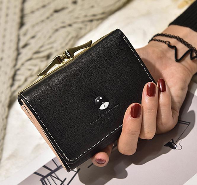 พร้อมส่ง กระเป๋าสตางค์ผู้หญิงใบสั้น กระเป๋าสตางค์นักเรียนแฟชั่นเกาหลี รหัส G-035 สีดำ