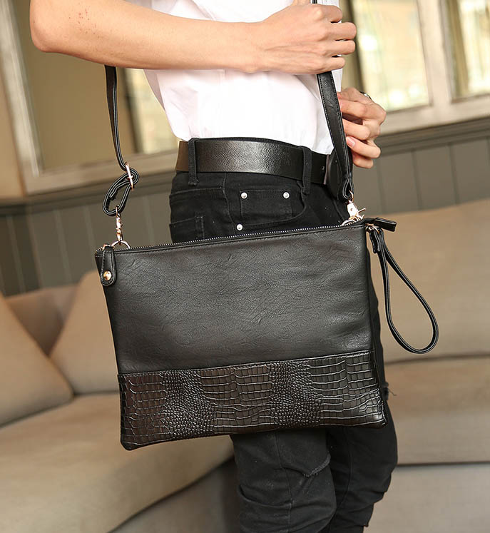 พร้อมส่ง กระเป๋าผู้ชายคลัทซ์และสะพายข้าง ใส่ ipad ลายหนังจระเข้แฟขั่นเกาหลี รหัส Man-1281-35 ไซร์ 35 cm สีดำ 1 ใบ