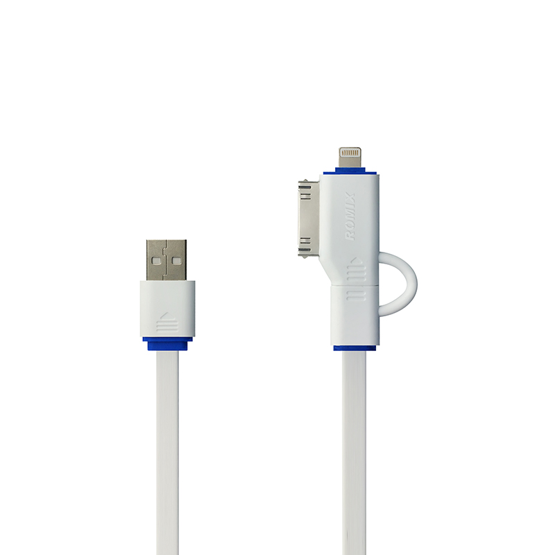 ROMIX USB safe charge speed data cable 3 in one (White)