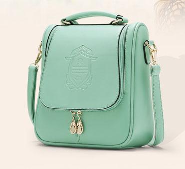 พร้อมส่ง กระเป๋าแฟชั่นเกาหลี sunny-458 ปรับสะพายข้างและเป้ได้ สีเขียวมิ้นต์