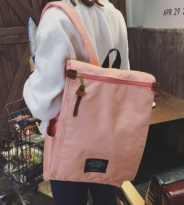 พร้อมส่ง กระเป๋าเป้ผ้า สะพายหลังใบใหญ่ สไตล์Anello-flap ติดโลโก้ LIVING TRAVELING SHARE แฟชั่นเกาหลี Fashion bag รหัส NA-436 สีชมพูอ่อน