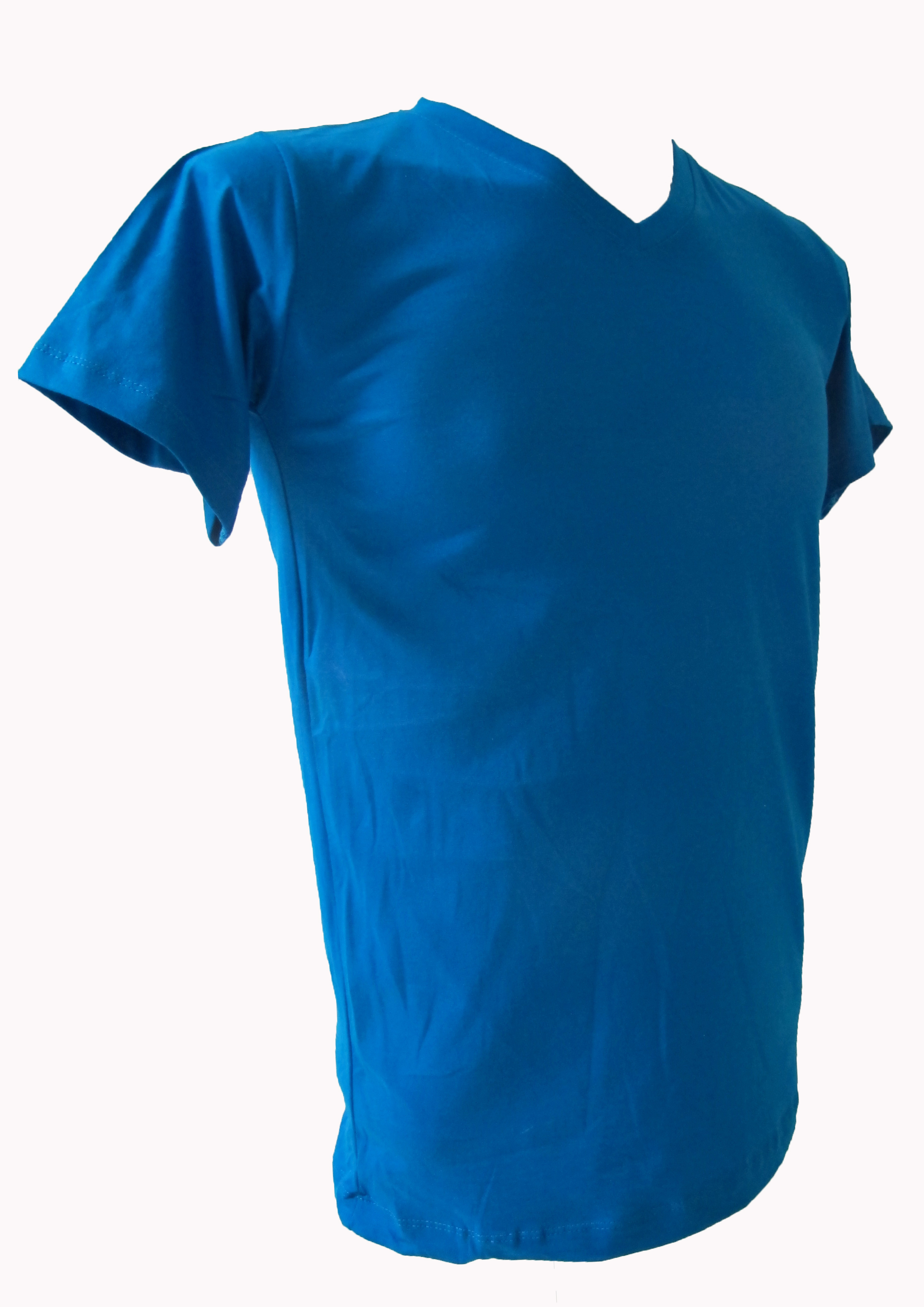 COTTON100% เบอร์32 เสื้อยืดแขนสั้น คอวี สีฟ้าทะเล