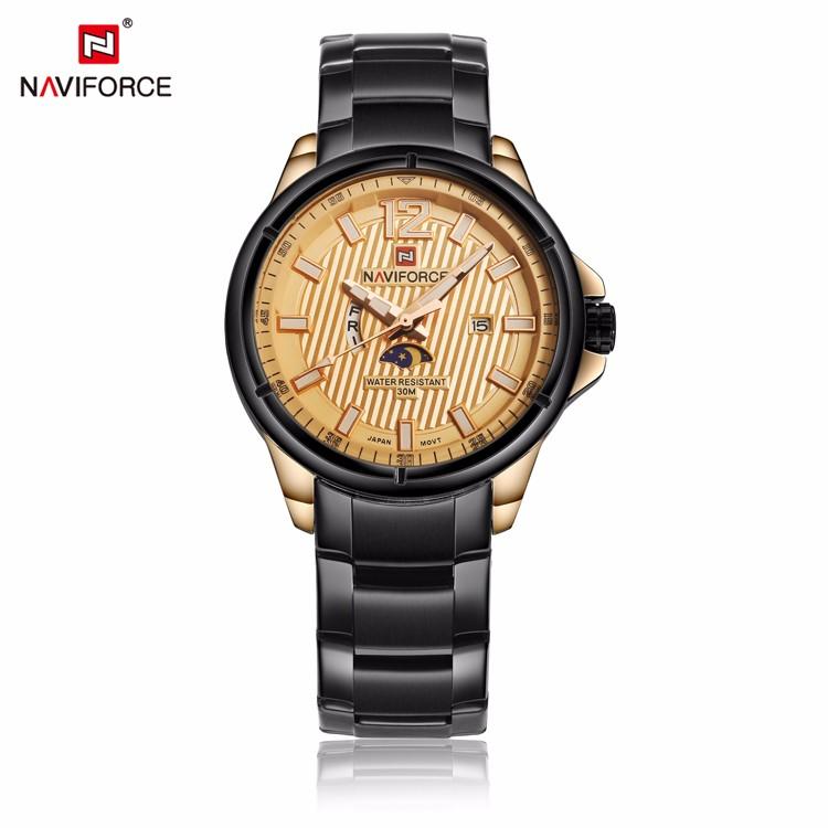 นาฬิกา Naviforce รุ่น NF9084M สีทองชมพู/ดำ ของแท้ รับประกันศูนย์ 1 ปี ส่งพร้อมกล่อง และใบรับประกันศูนย์ ราคาถูกที่สุด