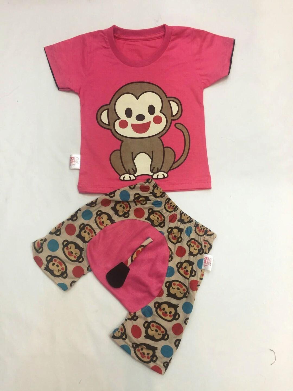 ชุดลิงน้อยชมพูบานเย็น