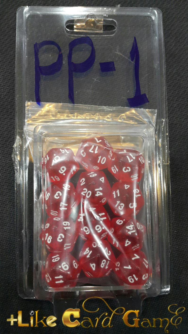 ลูกเต๋า 20 หน้า 3 ลูก (สีแดงใส) PP-1