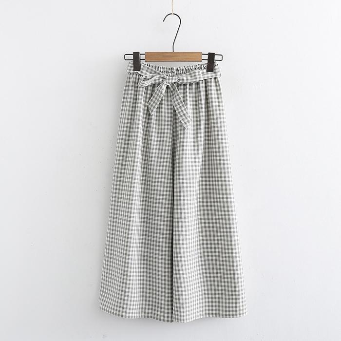 กางเกงลายสก๊อตขายาวเอวยืดแต่งโบว์ (มีให้เลือก 3 สี)