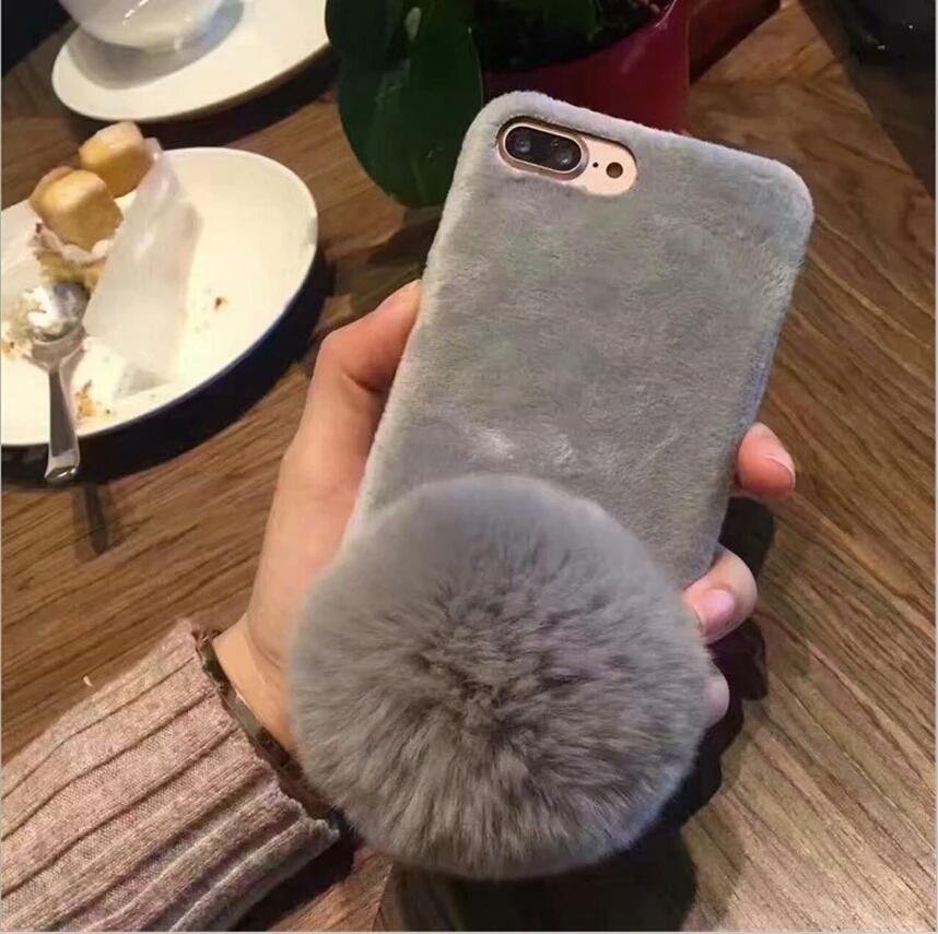 เคสไอโฟน5/5s เคสขนกระต่ายฟูฟรุ้งฟริ้งสวยๆและลูกบอลขนกระต่าย