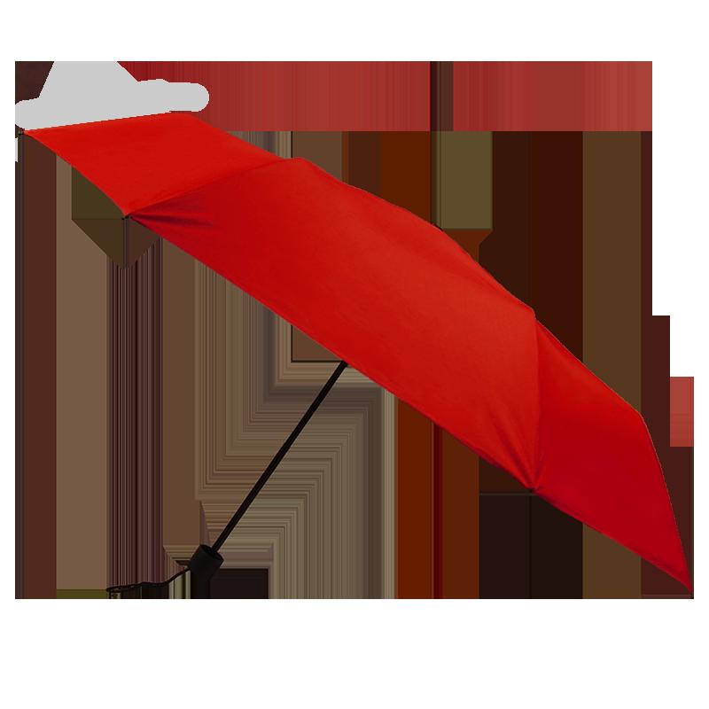 Silver Coating Folding ร่มพับ3ตอนเคลือบเงินป้องกันรังสียูวี - สีแดง
