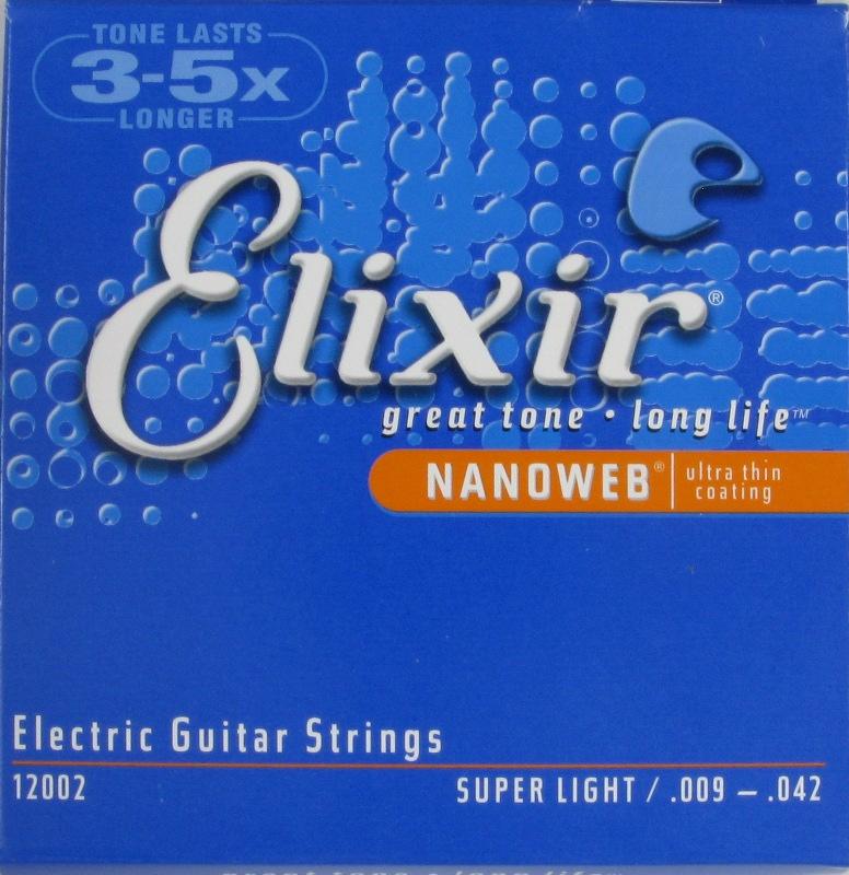 สายกีตาร์ไฟฟ้า Elixir Electric Guitar Strings Nano Web Coating Super Light 009 - 042