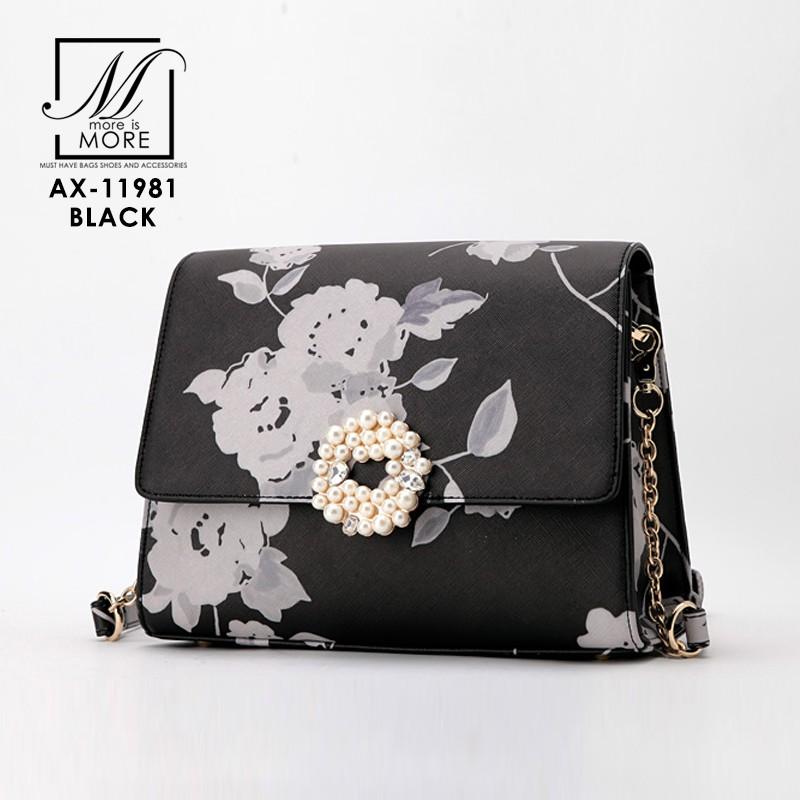 กระเป๋าสะพายกระเป๋าถือ แฟชั่นนำเข้าลายดอกไม้สุดเก๋ส์ AX-11981-BLK [สีดำ]