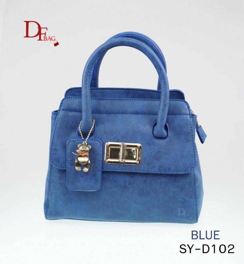 กระเป๋าถือแฟชั่น ประดับอะไหล่ทอง พวงกุญแจหมี [สีน้ำเงิน ]