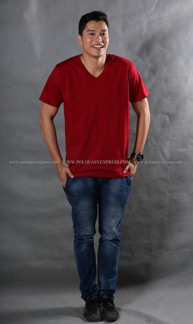 2XL เสื้อยืด สีเลือดหมู คอวี แขนสั้น Size 2XL สำเนา