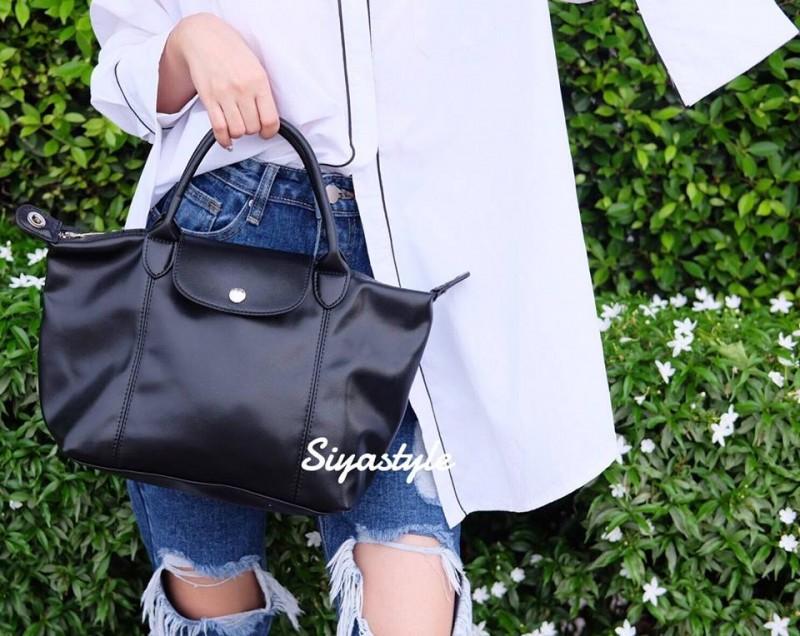 กระเป๋าสะพายแฟชั่น กระเป๋าสะพายข้างผู้หญิง ลองชอมหนัง Style [สีดำ]